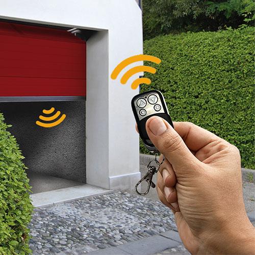 Remote control transmitter opening a garage door
