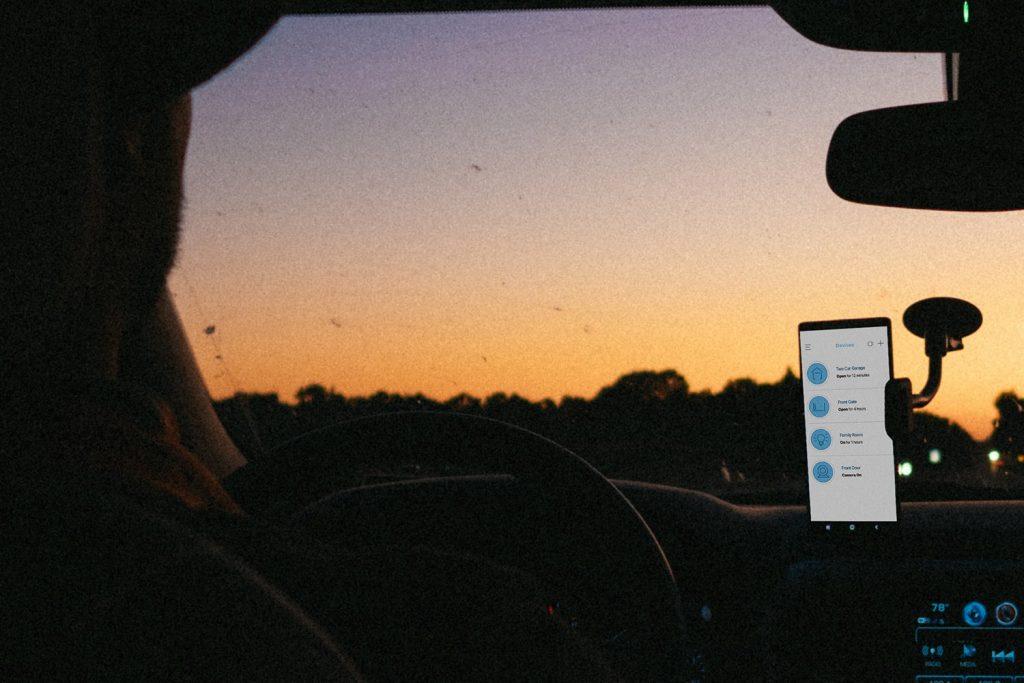 MyQ mobile app in car