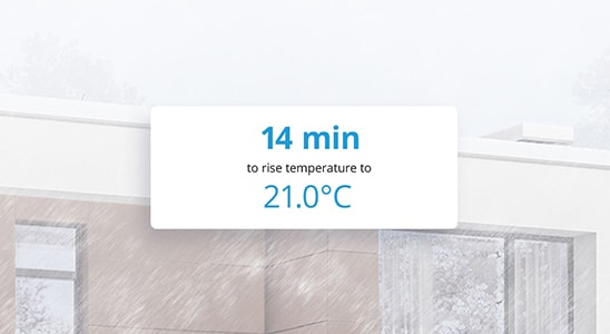 14 min to raise temperature to 21.0ºC