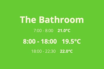 The Bathroom 7:00 - 8:00 21.0°C 8:00 - 18:00 19.5°C 18:00 - 22:30 22.0°C