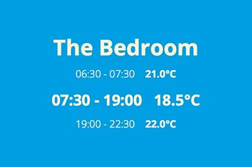 The Bedroom 6:30 - 7:30 21.0°C 7:30 - 19:00 18.5°C 19:00 - 22:30 20.0°C