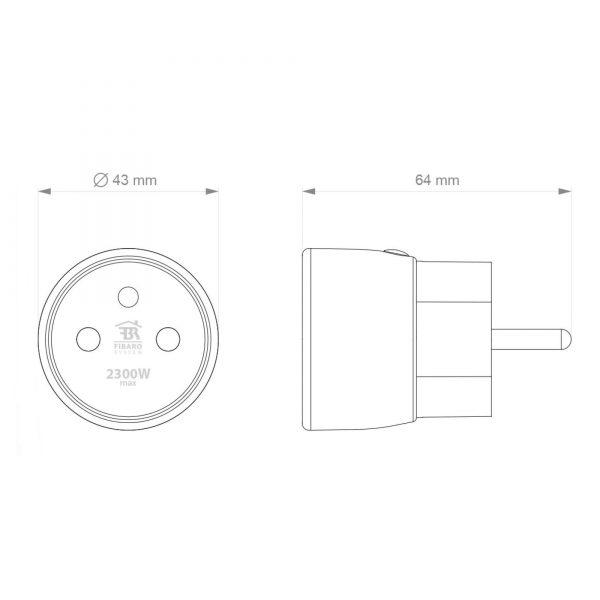 Fibaro Wall Plug EU Type E Dimensions