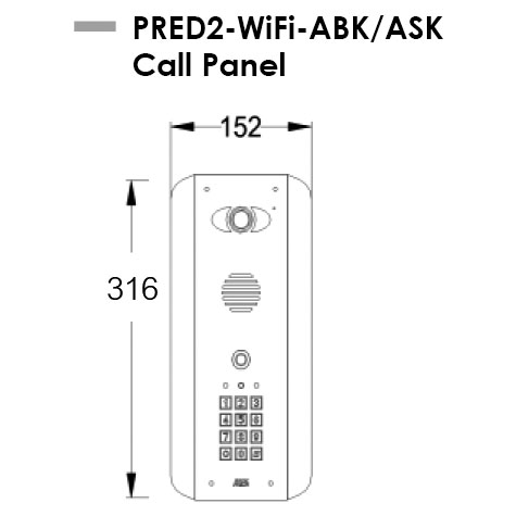AES PRED2-WIFI-ABK-ASK Intercom Dimensions