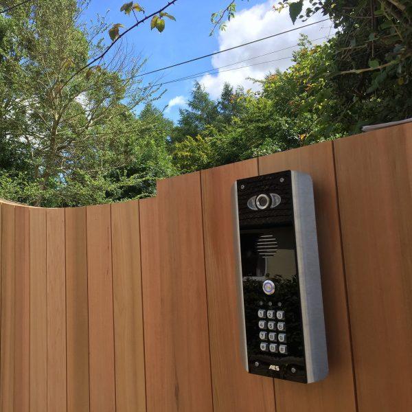 AES PRED2-WIFI-ABK Intercom On A Wooden Gate