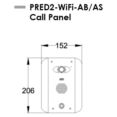 AES PRED2-WIFI-AS-AB Intercom Dimensions