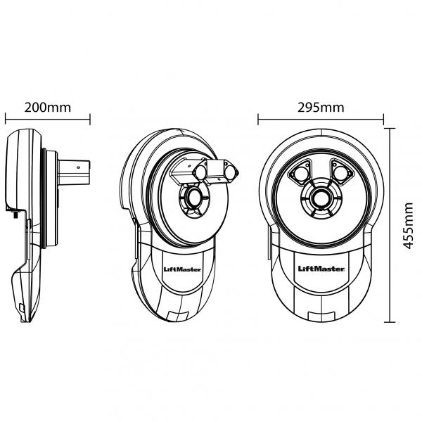 LiftMaster LM750EVGB Garage Door Opener Dimensions