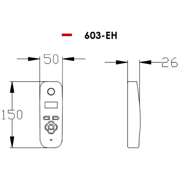 AES 603 Handset Dimensions