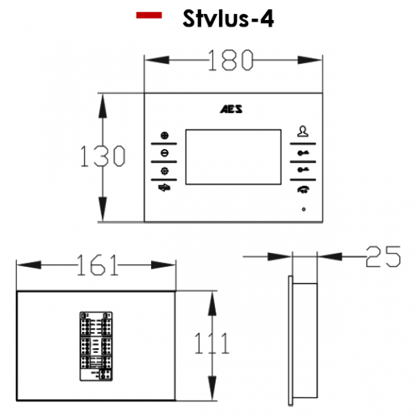 AES STYLUSCOM Monitor Dimensions