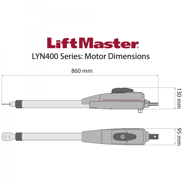 LiftMaster LYN400 Series Motor Dimensions