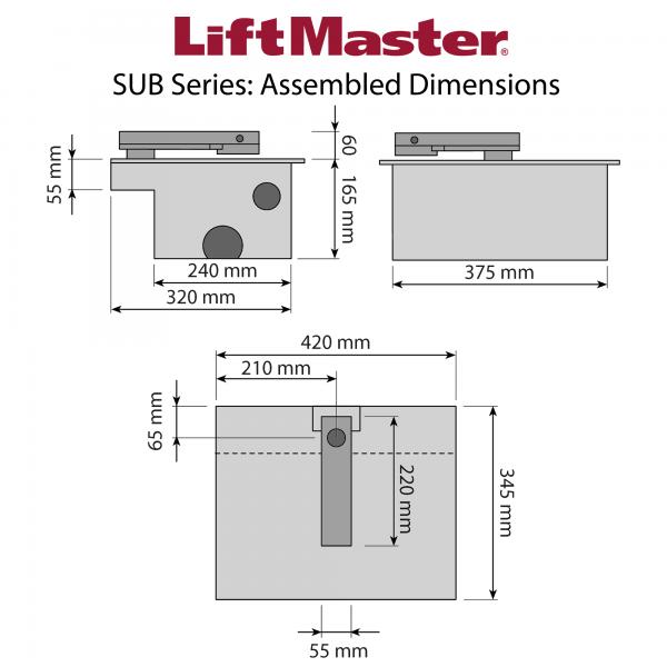 LiftMaster SUB Series Motor and Foundation Box Dimensions