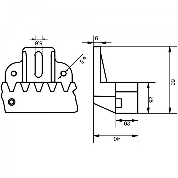 ACRN6 Nylon M4 Sliding Gate Rack V6-1200 Dimensions