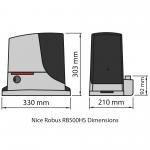 Nice Robus 500 HS RB500HS Motor Dimensions