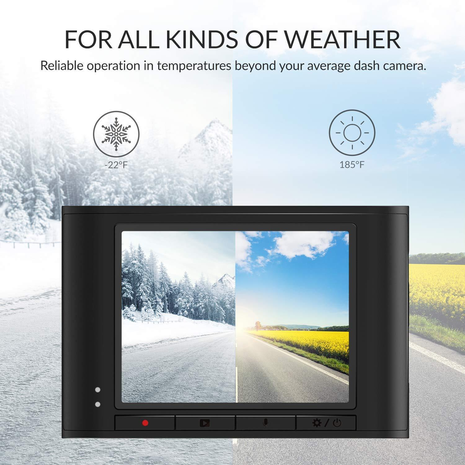 For all kinds of weather - Reliable operation temperatures beyond your average dash camera