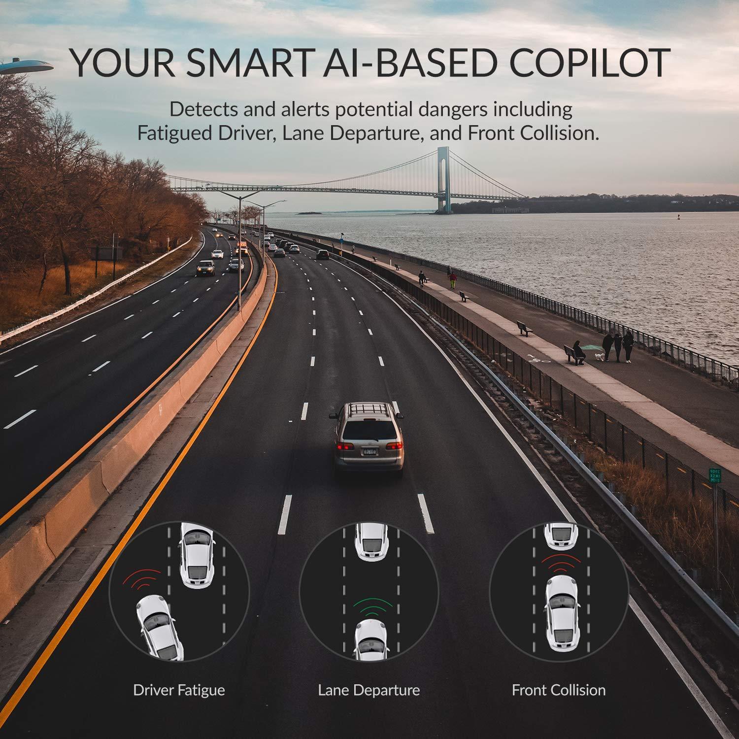 Your smart AI-Based copilot - Detects and alerts potential dangers including fatigued driver, lane departure, and front collision