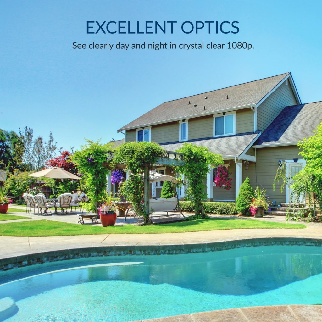 Excellent Optics - See clearly day and night in crystal clear 1080p