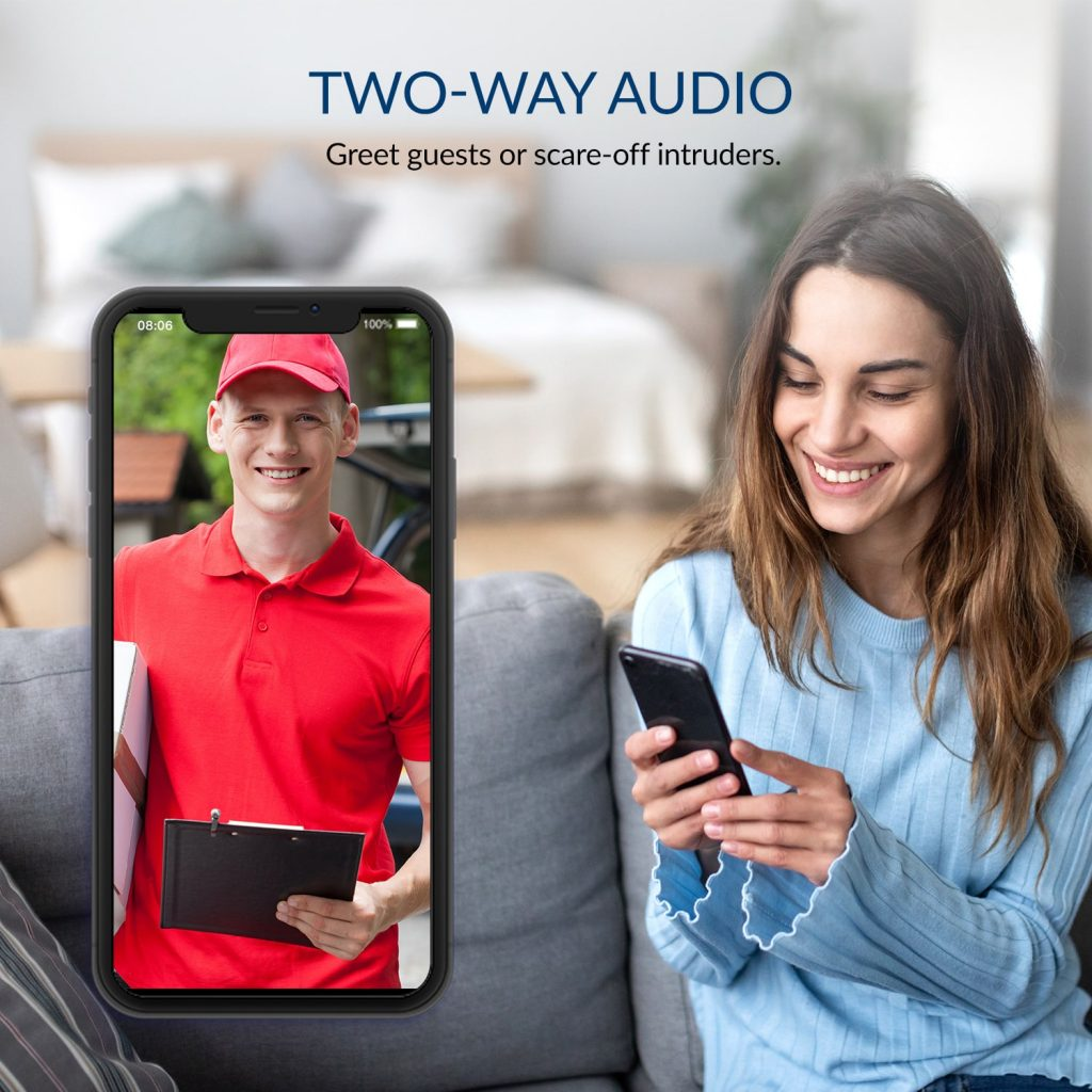 Two-way Audio - Greet guests or scare-off intruders