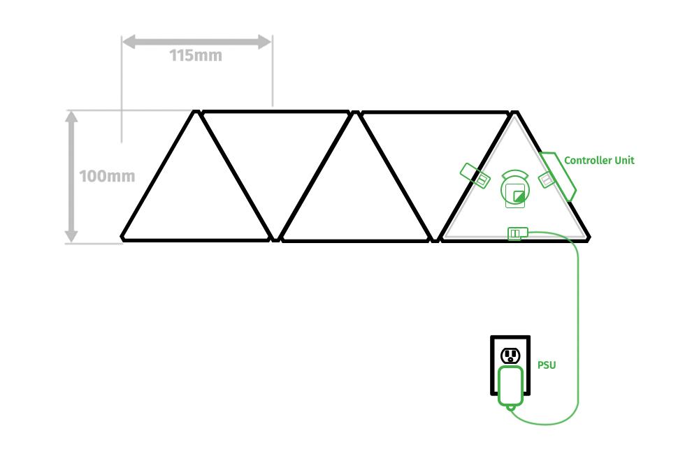 Nanoleaf Shapes Mini Triangle Diagram